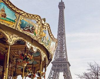 Paris Photography, Eiffel Tower Photo, Tour Eiffel Carousel, Travel Photography, Paris Print, Merry Go Round, Eiffel Tower Carousel Print