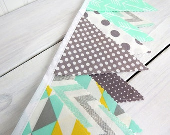 Bunting Banner,Photography Prop,Gender Neutral Nursery Decor,Home Decor,Garland,Pennant,Mint Green,Yellow,Gray,Chevron,Dots,Arrows