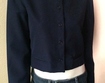Vintage Women's  80's Cropped Jacket, Navy Blue, Button Up (M)