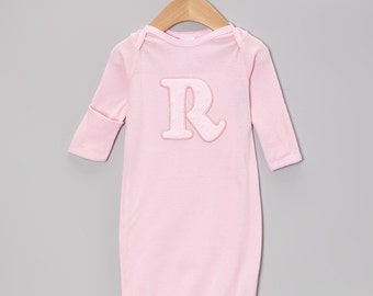 Applique Initial Personalized Newborn Girl Baby Gown Baby Gift, Baby Shower Gift.