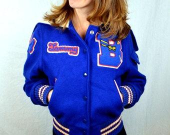 Vintage Lasley Knitting Co. Varsity Letterman Campus Wool 1984 Jacket Coat