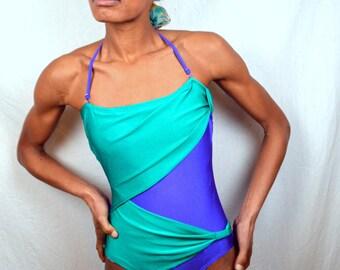 Vintage 80s Purple Teal Green 1980s Swimsuit