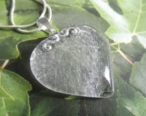 Heart of Colorado-Real Pressed Aspen Leaf Frosted Imprint Glass Heart Pendant-Gifts Under 35-Symbolizes Determination,Overcoming Fears,Doubt