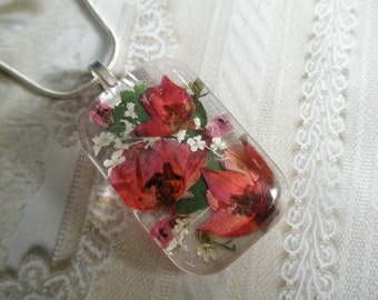 Pink Boronia,Queen Anne's Lace,Heather Glass Rectangle Pressed Flower Pendant-Symbol Of Admiration, Solitude-Nature's Art-Gifts Under 30