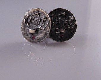 Kushiel's Rose Cufflinks, Sterling Silver, With or Without Rubies