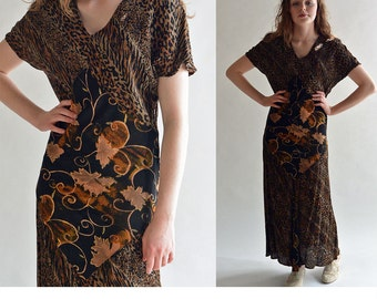 Vintage 80s Dress Midi Boho Dress / Kimono Sleeve Drop Waist Dress Ethnic Leopard & Floral Print Patchwork Dress Bias Cut Flare Hem Dress M