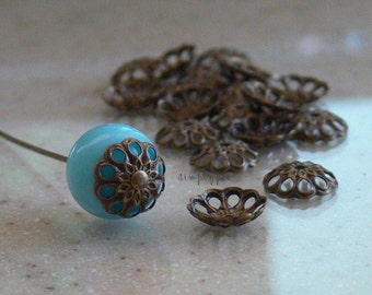 Antiqued Brass Fancy Bead Caps 8mm 20 Filigree Metal Beads