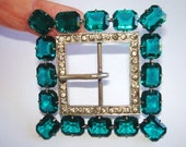 Vintage Clear Faceted Turquoise Stone Jewelry Sash Belt  Buckle Silver Tone Signed PR JC Co