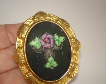 Art Deco Flower  Vintage Jewelry Brooch KL Design