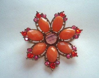 Orange Rhinestone Flower Gold Tone Brooch