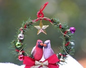 Christmas Cardinal Wreath Handmade Ornament in Gift Box