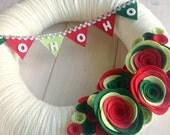 Yarn Wreath Felt Flower Handmade Holiday Door Decoration - HoHoHo 12in