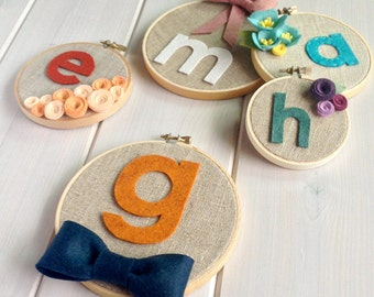 Personalized Custom Boys Bowtie // Embroidery Hoop // Wall Decoration