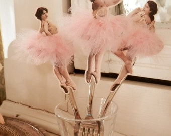Tiny Dancers. Ten Appetizer Forks with Vintage Ballerinas and Pink Tulle Tutus