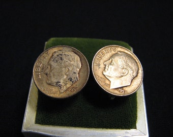Vintage 1953 and 1955 Dime Coin Screwback Earrings