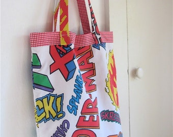 Marvel Comics Upcycled Novelty Tote - Bright Colorful Super Hero Bag - Eco Friendly - Toddler / Kid / Baby OOAK Under 40 Kitsch Fun Gift
