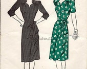 Vintage 1945 Sweetheart Neckline Dress Pattern Side Drape Skirt 1945 Advance 3876 Bust 32
