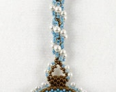 Beaded Fob with  Czech Glass Cat Button for Scissors or Laying Tools or Threaders