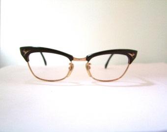 40s 50s Optura Cat Eye Horn Rimmed Eyeglasses Women's Vintage 1940s 1950s Frames Brow Lined GF