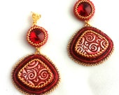 Red and Gold Beaded Earrings with Handmade Polymer Clay - OOAK