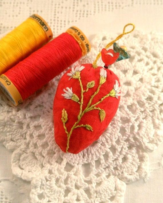 Pincushion, Strawberry Emery- Joyful Flowers on Red Ready to Ship