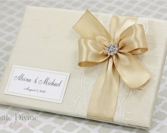 Wedding Guest Book Cream Ivory Champagne Gold Custom Made in your Colors