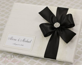 Wedding Guest Book Off White Black Custom Made in your Colors