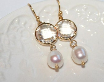 Peach And Crackle White Opal Teardrop And Gold By Angelpearls