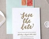 Letterpress Save the Date- Malibu Letterpress Save the Date-Calligraphy,Traditional, Elegant, Simple, Classic, Custom, Formal, Destination