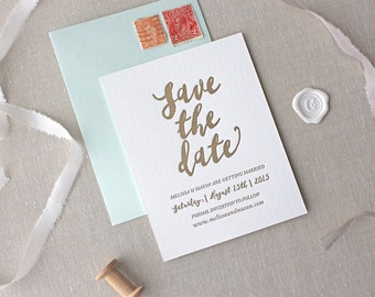 Letterpress Save the Date- Malibu design- Calligraphy,Traditional, Elegant, Simple, Classic, Custom, Formal, Destination