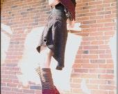 Leg Warmers - Knee High - Socks - Steampunk Clothing Accessory - Sexy Socks - Knee High Leggings - Patchwork Socks - Burning Man - One Size