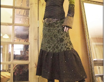 Skirt - Steampunk - Burning Man - Bohemian - Gypsy Burlesque - Ankle Length - Designer Fashion - Boho Chic Skirt - Size Medium