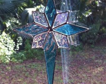 Beautiful Custom Handmade Blue Stained Glass Star with iridescent points