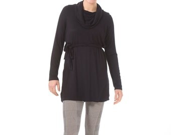 Black Maternity tunic- Long cowl neck tunic for maternity