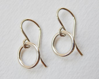 Tiny Circle Earrings - Sterling Silver Hoop Earrings Dangle Earrings