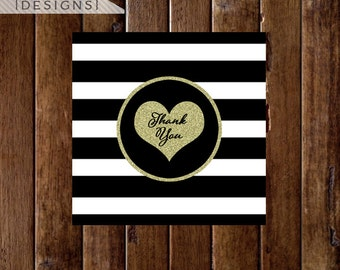 Black and White Stripe with Gold Glitter Heart Thank You Favor Tags - PRINTABLE DESIGNS