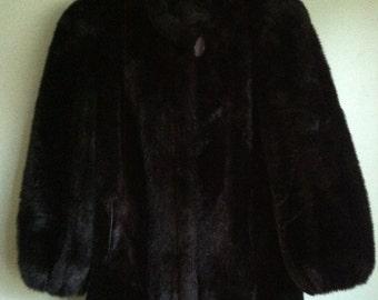 FREE SHIPPING Vintage 1990s Black Faux Fur Coat