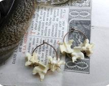Manasa earrings. Queen Of Snakes. Snake Bone hoops Bone Jewelry. Python Bone .Copper Hoop Earrings & Genuine serpent earrings. gift wrapped