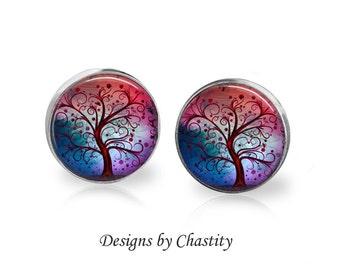Pretty Swirly Tree - Glass Altered Art