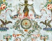 antique french wallpaper design griffin pink roses illustration digital download