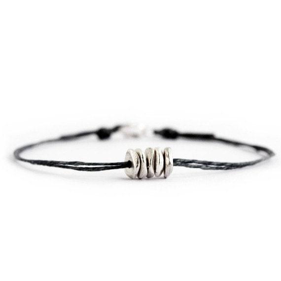 Friendship Bracelet, Denim Thread Bracelet, String Bracelet, Sterling Silver, Thing Cord Bracelet, Stackable Bracelet, Layering Bracelet