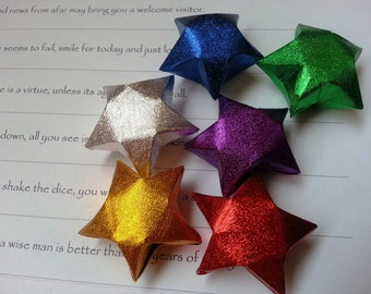 Large Glittering Lucky Stars - Fortune Cookies, Christmas Ornament