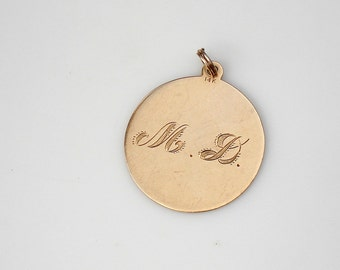 Reserved ~ Vintage 14k Gold Charm or Pendant--Initials M.D.