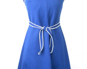Vintage Sleeveless Polyester Summer Dress • Navy Blue Lady Carol of New York