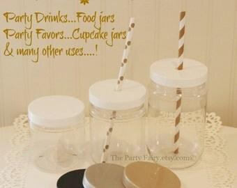 "Plastic Mason Jars, 10 Plastic Jars with PLASTIC ""SPILL PROOF"" Lids, Mason Jar Cups, Wedding Favors, Baby Shower Favors, Food Gift Jar"