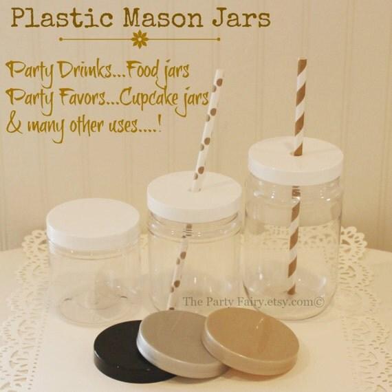 plastic mason jars 10 plastic jars with plastic spill proof lids mason jar cups wedding. Black Bedroom Furniture Sets. Home Design Ideas