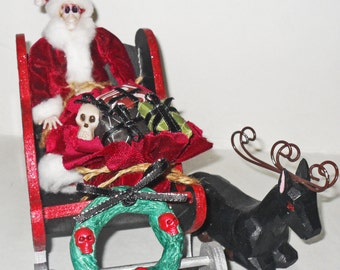 Skeleton Santa and Sleigh - Gothic Christmas Decor - Creepmas - Dark Christmas Home Decor