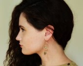 unique handmade earrings gold dangle earrings - pyrite and chrysoprase gold earrings long chandeliers earrings hand made Gemstone Earrings