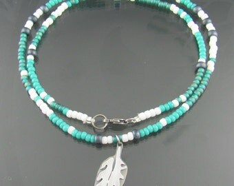 feather beaded necklace - sterling silver necklace - seed bead necklace - animal - wild - feather