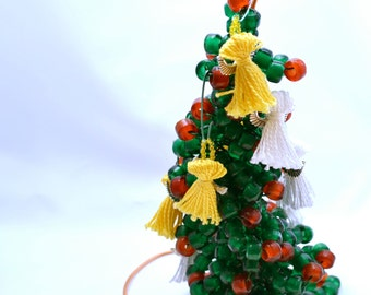 Mini Christmas Tree: Red and Green Beaded Christmas Tree - Holiday Decor